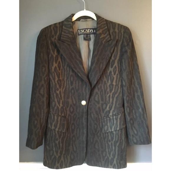 Escada Jackets & Blazers - Vintage Escada Margaretha Ley Blazer Leopard Print
